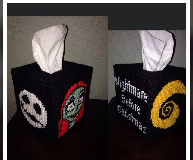 Nightmare Before Christmas Plastic Canvas Tissue Box Cover