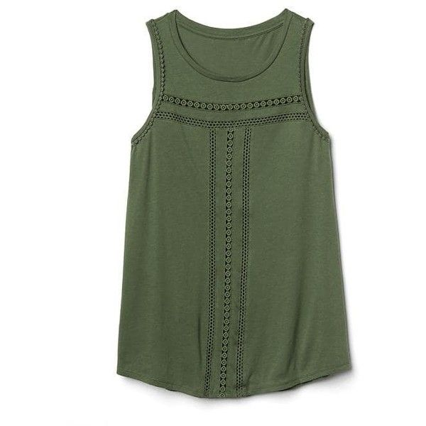 Gap Women Crochet Swing Tank ($30) ❤ liked on Polyvore featuring tops, shirts, tank tops, jungle green, regular, crochet top, green sleeveless shirt, crochet tank, sleeveless tank tops and green tank