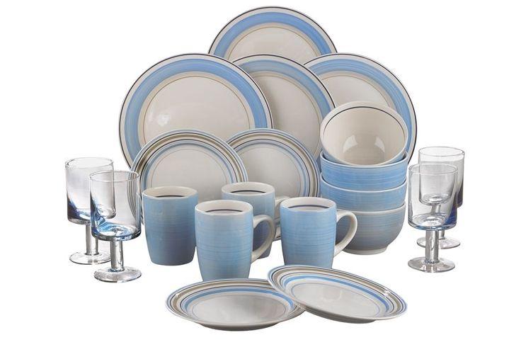 20 Pc Baby Blue Cream Round Dinner Set Tea Service Earthenware Glasses
