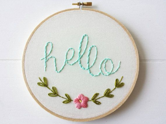 Embroidery Pattern, PDF Pattern,Hello Hand Embroidery Pattern, Instant Download…