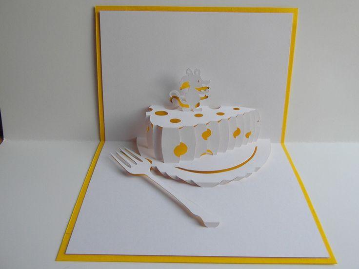 Pop up Karte - Kuchen auf Teller, mit Gabel+ Maus von Pop-Up Karten auf DaWanda.com