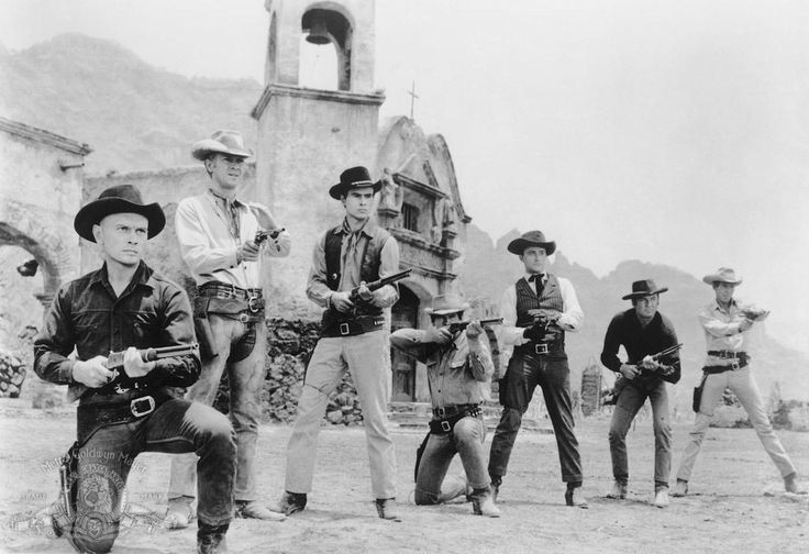Yul Brynner, Steve McQueen, Horst Buchholz, Charles Bronson, Robert Vaughn , Brad Dexter and James Coburn in The Magnificent Seven directed by John Sturges, 1960