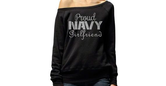 Proud Navy Girlfriend Sweater . Proud Navy Wife . by BraveandProud