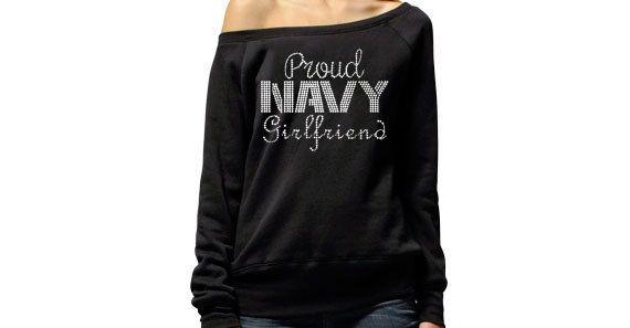 Proud Navy Girlfriend Sweater . Proud Navy Wife . by BraveandProud