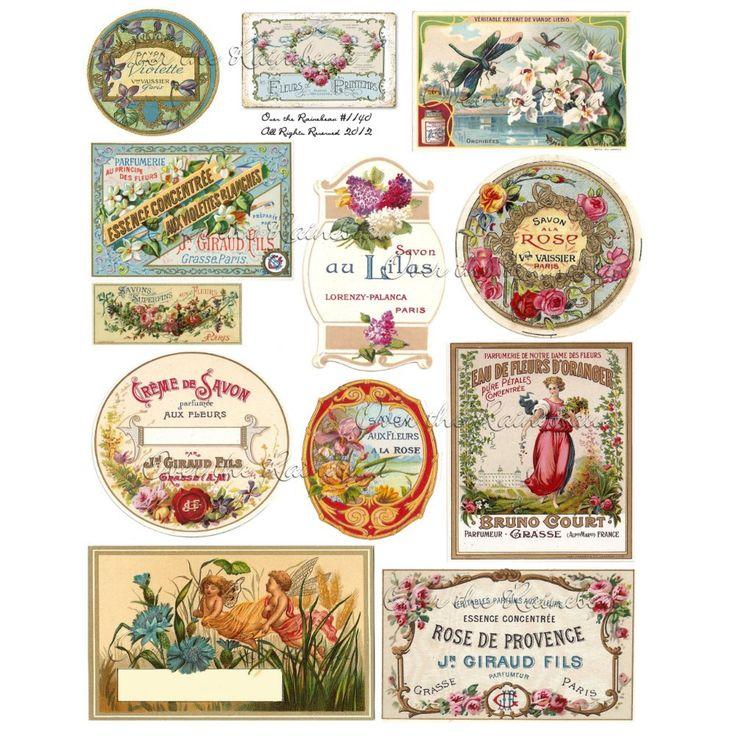 Vintage Perfume Labels  Digital Collage Sheet  1140
