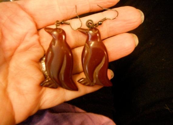 vintage carved bakelite penguin bird wine pierced by bakelitecache, $90.00