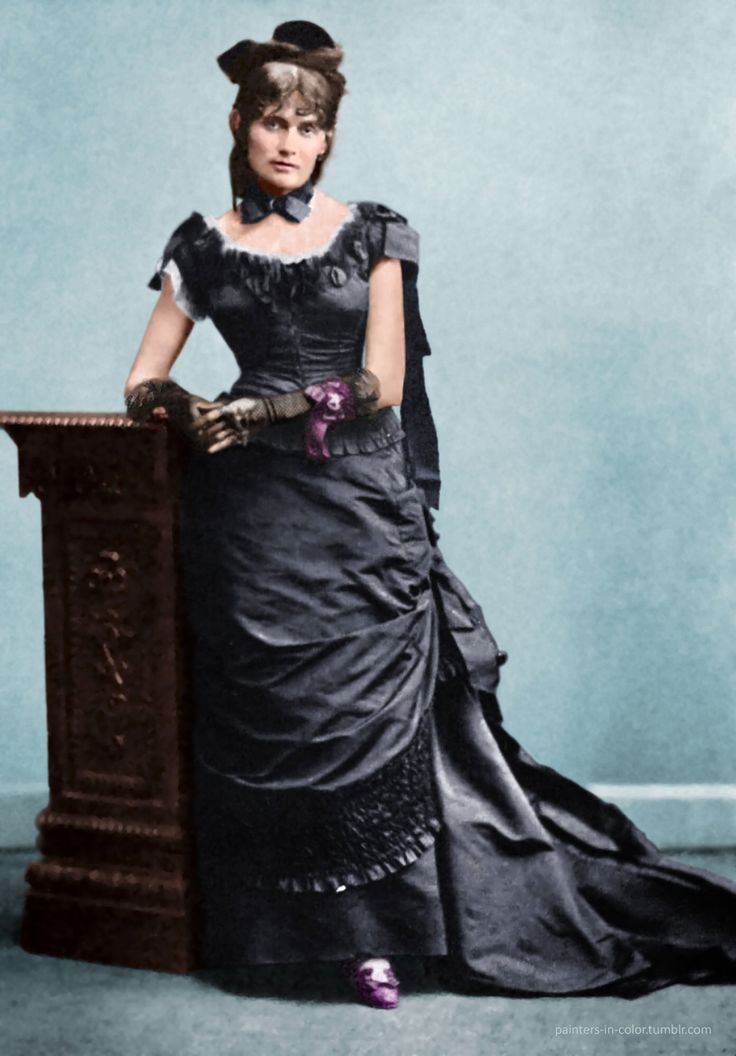 Berthe Morisot (1841 – 1895) Original black and white photo by Charles Reutlinger, colorized by painters-in-color