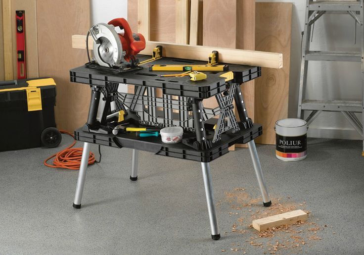 No need to mess with sawhorses when you use the Keter folding work table!