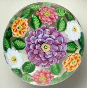 Camelia Paperweight, Clichy Glasshouse, circa 1850, glass, 3 1/8 in. x 3 1/8 in. Currier Museum of Art.