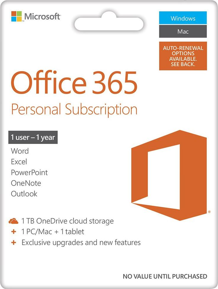 Office 365 Personal, 1-year subscription, 1 PC/Mac (Product Key Card) - Android|Mac|Windows|iOS, White