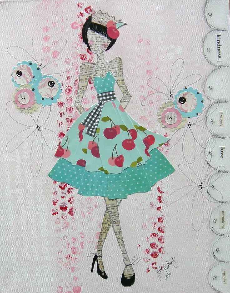 Mixed Media Collage -- Julie Nutting - I like the colors and the minimal background noise on this one