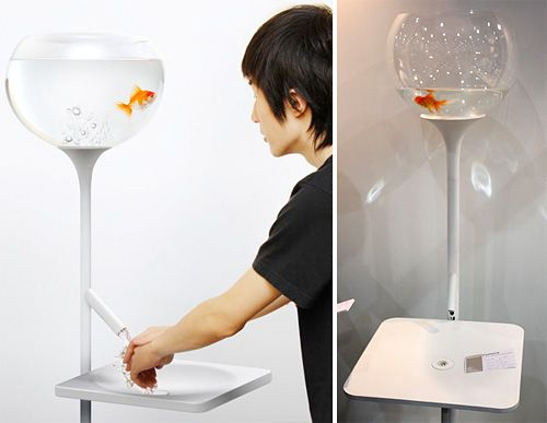 Poor Little Fishbowl Sink Designed byYan Lu, the Poor Little Fishbowl Sink encourages you to conserve water by slowly draining water from the bowl every time you use the sink and giving your little buddy an impromptu funeral. Although I imagine there are sadists out there who might enjoy the occasional maniacal cackling while they wash their hands. via:ohgizmo  (via ianbrooks)