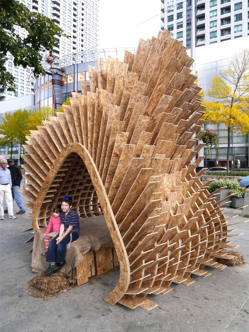 Harvest Wave by Andrew M. Robert M. Raymond B.  Teresa C. This was 2012's runner up for the Sukkahville Design Competition. The 2...