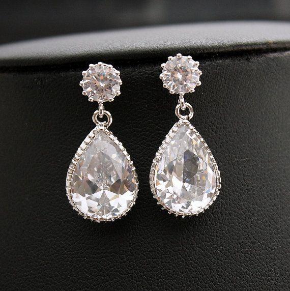 Sposa Orecchini Orecchini da sposa chiaro argento zircone tondo messaggi da Damigella orecchini gioielli di nozze
