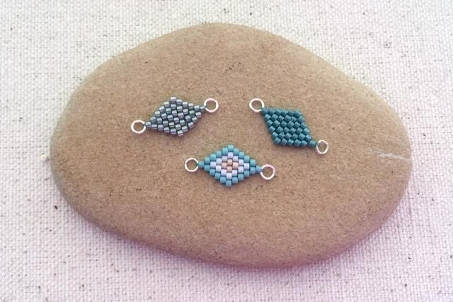 Learn to make a brick stitch diamond shape by making increases and decreases at the beginning and end of the rows.