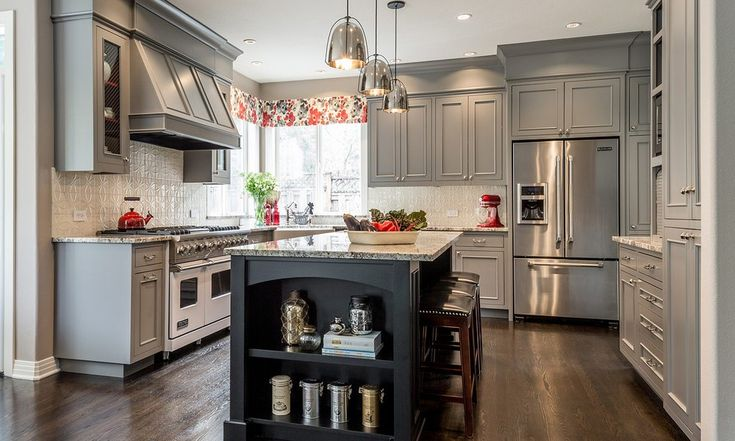 ideas to update kitchen decor with a modern valance. Shown in painted gray kitchen with black island and granite countertops