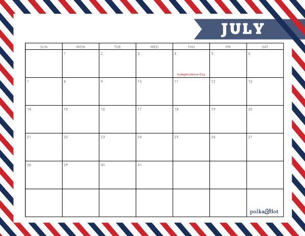 Blank Calendar Customizable : Free printable july calendar polka dot
