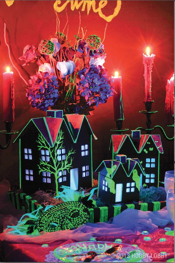 Create a creepy Halloween party with a little assistance from glow-in-the-dark paints! (Project ideas inside.)