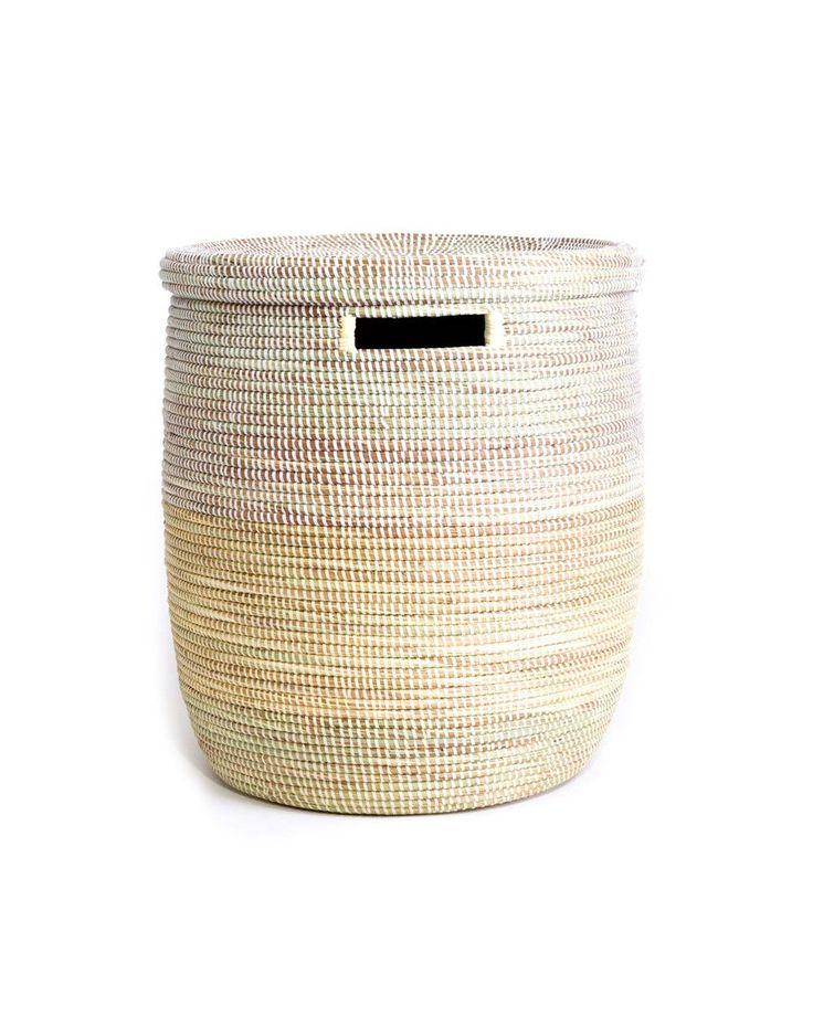 Vanilla Dipped White Laundry Basket