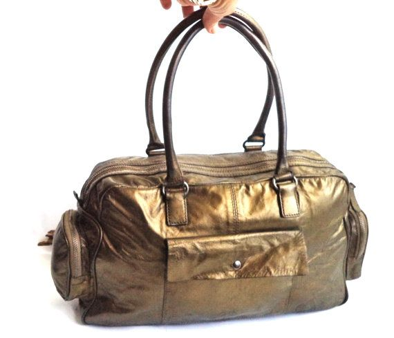 Great Vintage Metallic Bronze Bag Danier Leather by MushkaVintage3