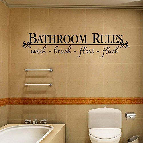 JB JJ011 Wall Stickers Black Text Words for Home Cafe Shop Decoration  bathroom rules ** Be sure to check out this awesome product.