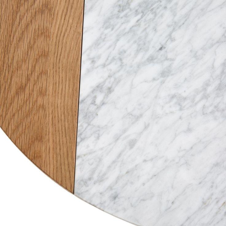 Table Basse, Plateau Marbre Blanc Et Chêne, Crueso – Taille : Taille Unique