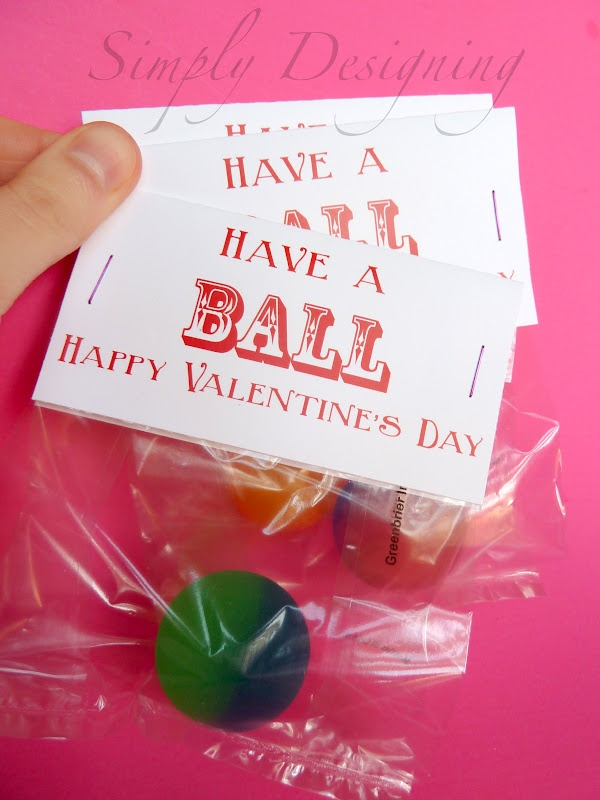 Fun idea for Valentine's Day instead of sweets: a bouncy ball a with cute card! via@simplydesigningblog