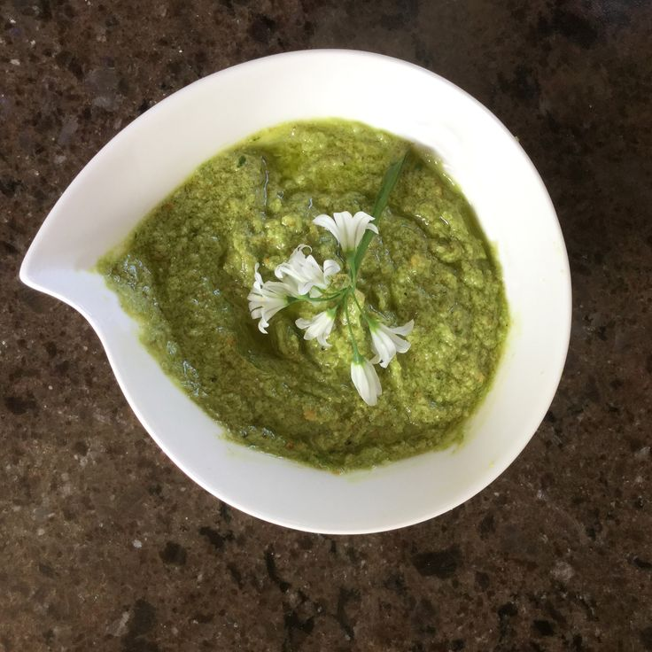Wild garlic and walnut pesto recipe. Perfect for drizzling on new potatoes or having with pasta.