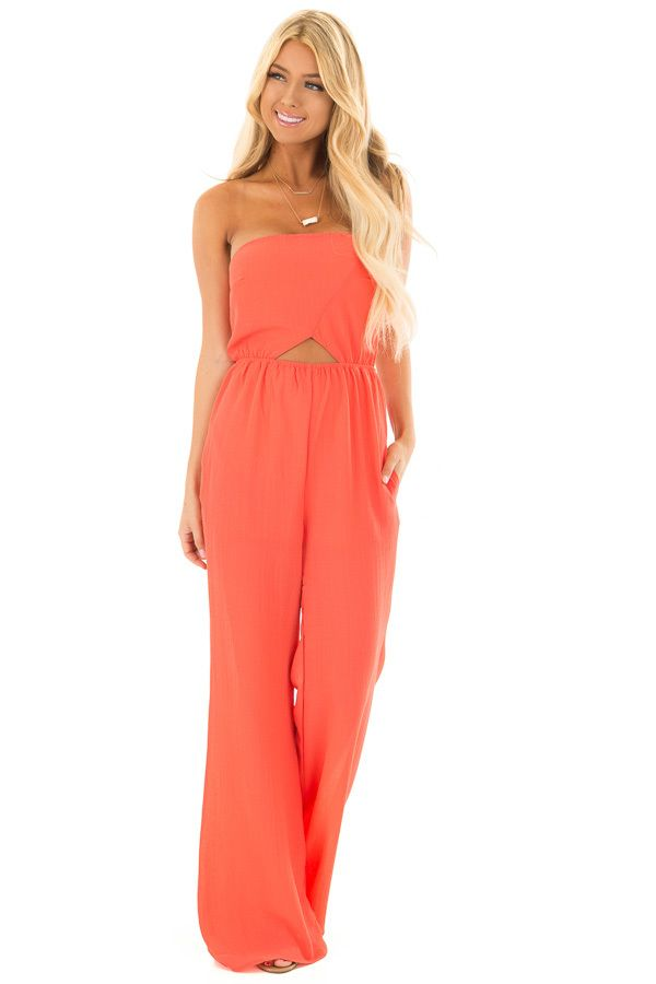 5350fb93e9a0 Coral Strapless Jumpsuit with Cut Outs