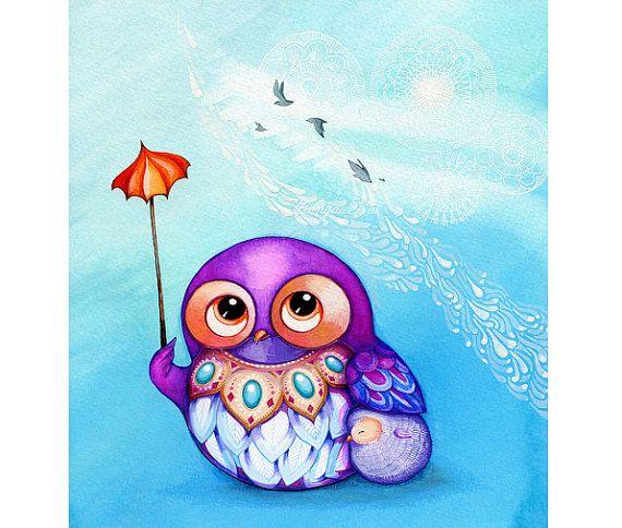 Gufo Art - primavera nuvole - gufo carino vivaio pittura parete Art - viola viola Baby blu bianco