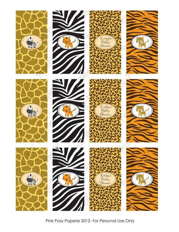 Safari para imprimir bebé ducha Mini Candy Bar por PinkPosyPaperie