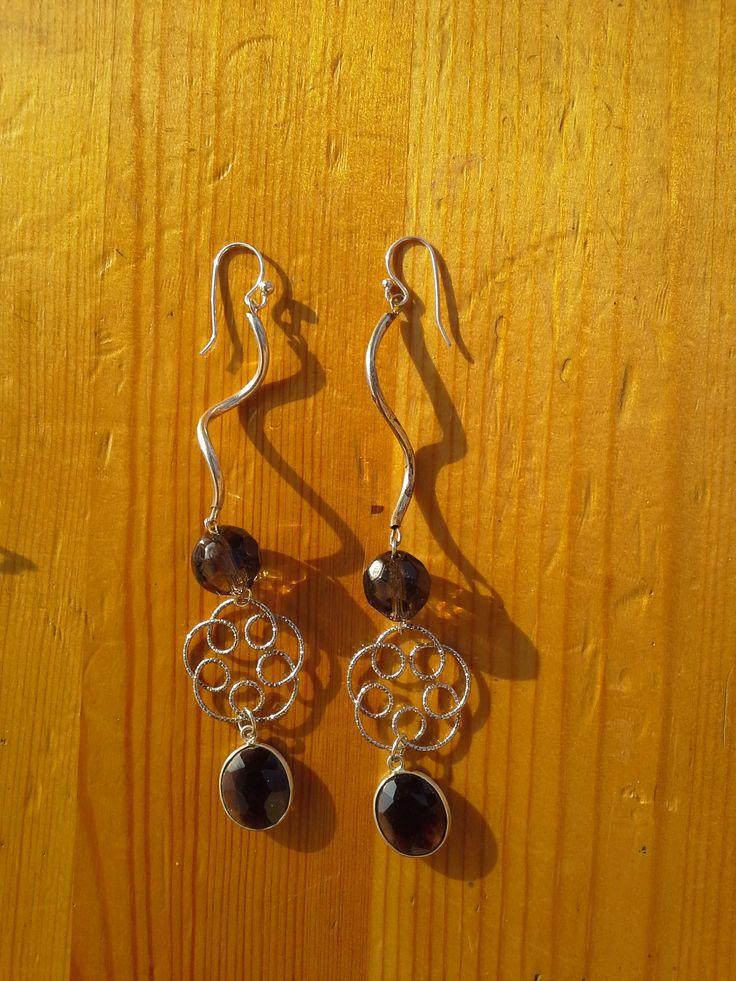 silver earrings and smoky quartz  orecchini in argento e quarzo fumè