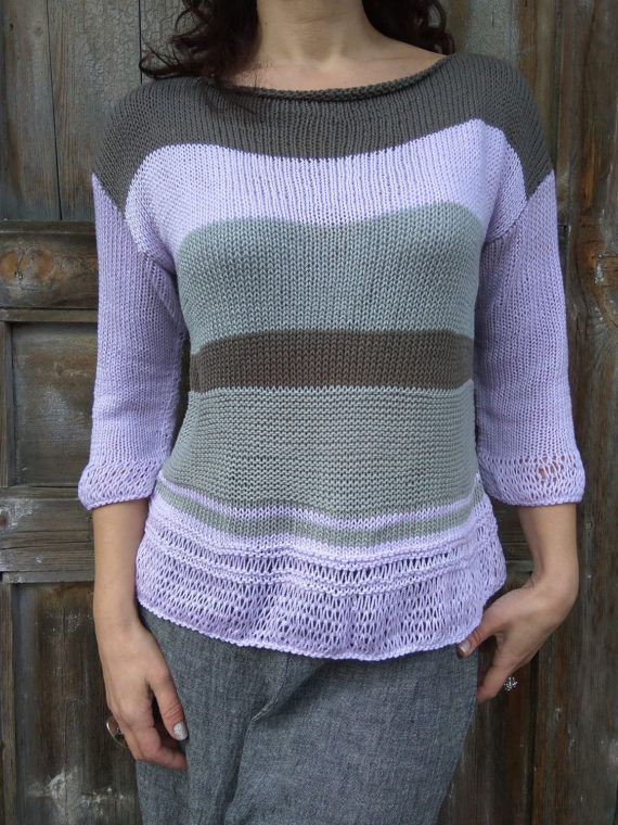 Lilac Grey Brown Pullover Pastel Sweater Handknit women's