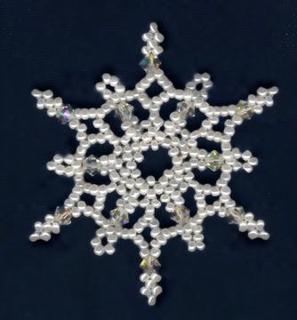 Free Bead Patterns and Ideas : Snowflakes Falling Ornament Pattern - Free pattern...
