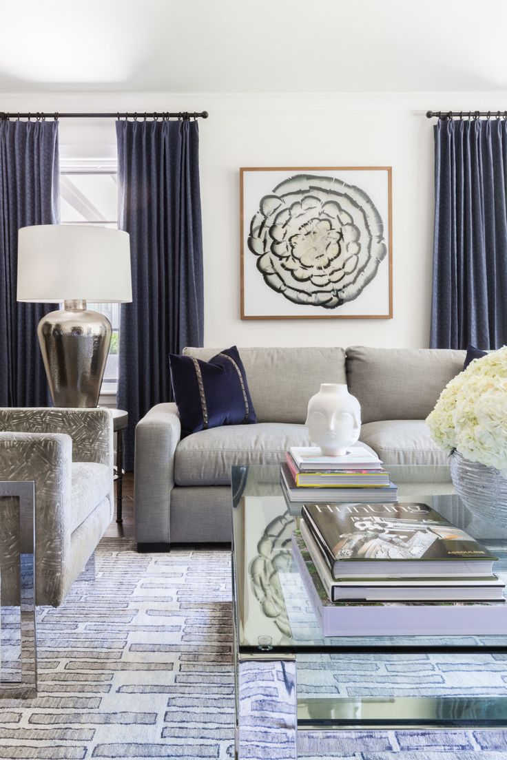 Navy Blue Hues Woven Throughout This Modern Living Room Photography Alyssa Rosenheck