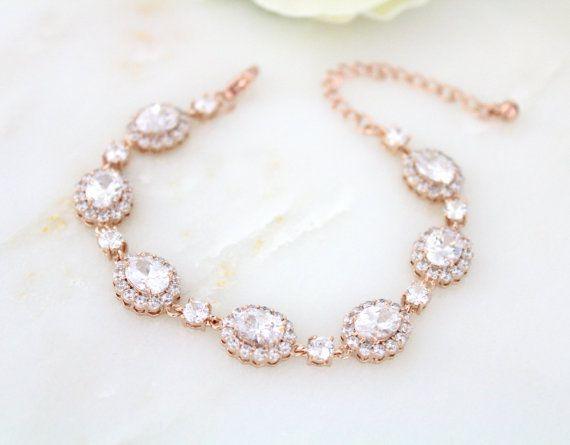 Rose gouden armband bruiloft Crystal Bridal armband Tennis