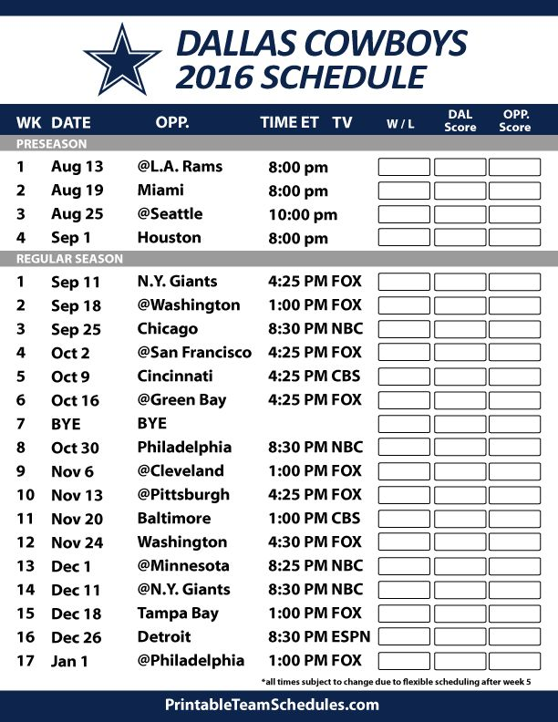Dallas Cowboys 2016 Football Schedule. Print Schedule Here - http://printableteamschedules.com/NFL/dallascowboysschedule.php