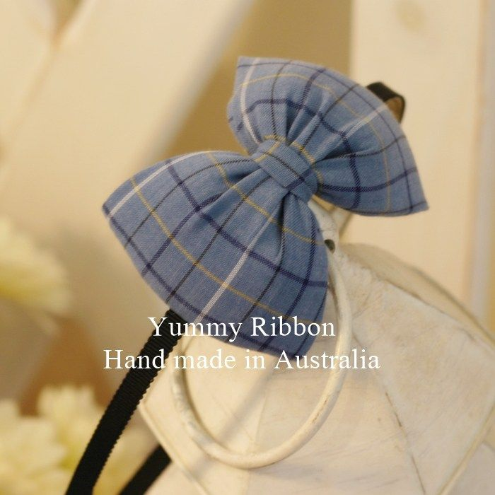 100% Handmade Hairbands / Headbands  Bow size: 10.5cm*7cm (Approx.)  Steel band wrapped with ribbon  Steel band width : 0.5cm  Headband color : Navy Blue