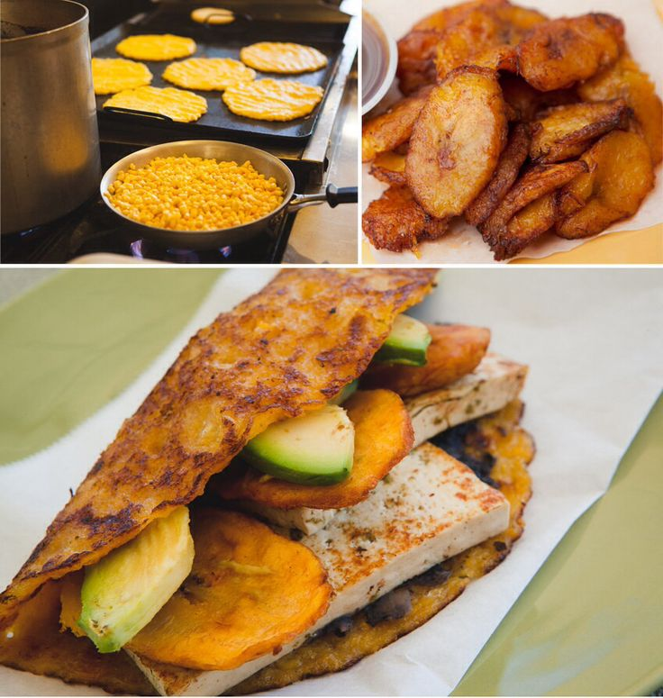 Cachapa made with sweet corn ,avocado plantains,black ...