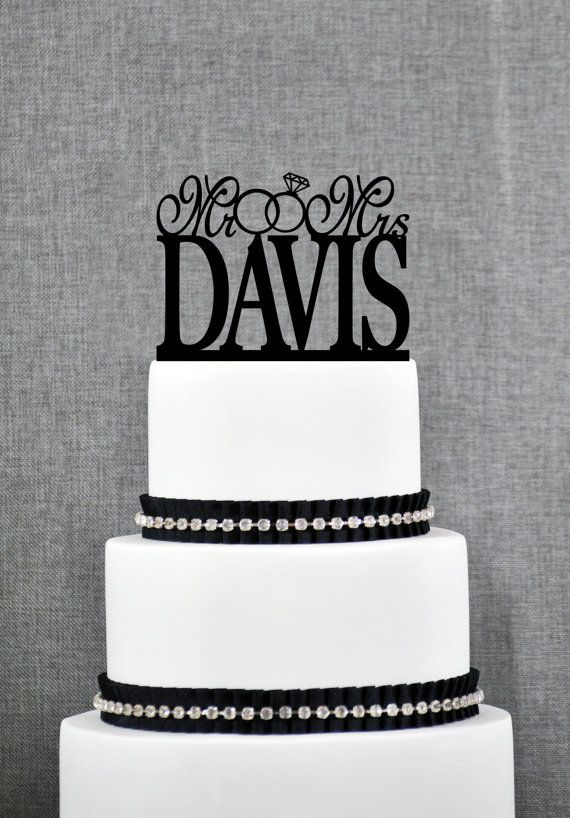 Traditional Last Name Two Ring Wedding Cake Topper Personalized Glamorours