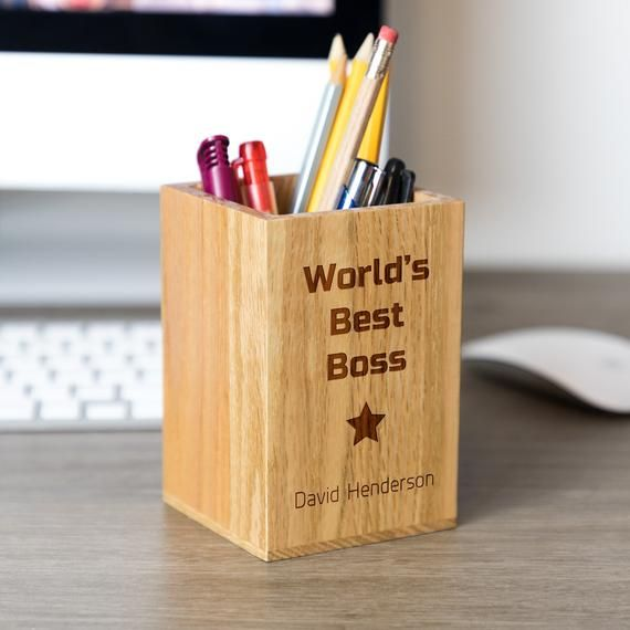 Pen Holder World S Best Boss Personalised Wooden Pen Pot