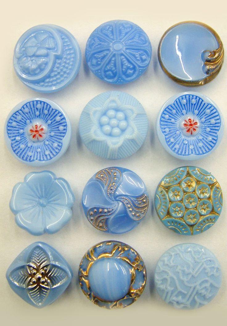 Blue Sky Fancy Glass Vintage Buttons