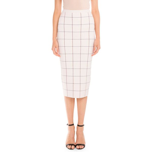 Victoria Beckham Signature Check Pencil Skirt ($1,425) ❤ liked on Polyvore featuring skirts, multi colors, women's apparel skirts, multicolor skirt, checkered pencil skirt, pink pencil skirt, multi color skirt and zipper pencil skirt