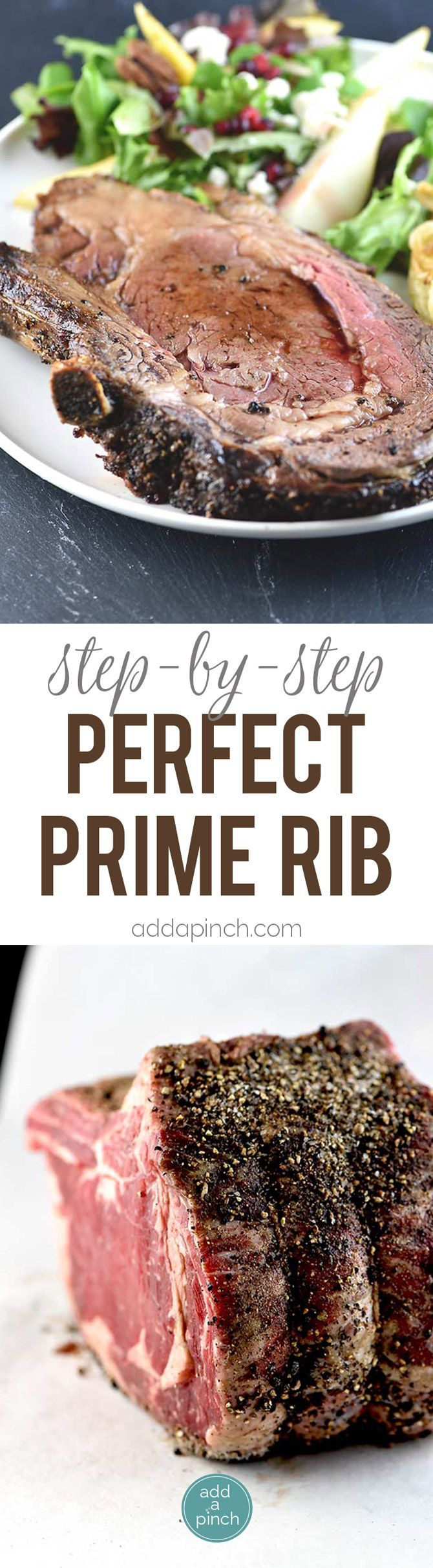 Perfect Prime Rib Recipe - Delicious dish that is a family favorite! Step by step instructions for this crave-worthy recipe! // addapinch.com