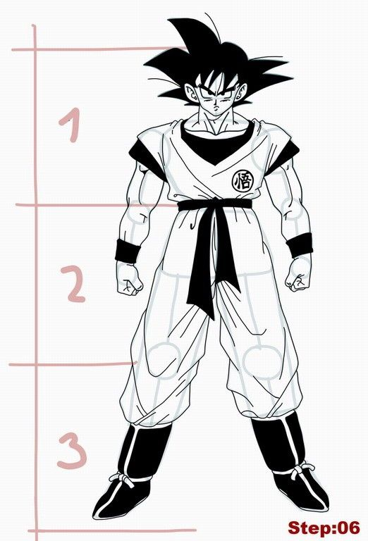 how to draw goku from dragon ball z step 06