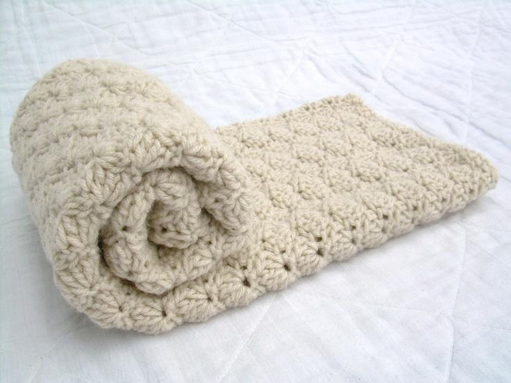 Crochet Off White Baby Blanket, Beige, Khaki, Oatmeal, Neutral, travel stroller size.