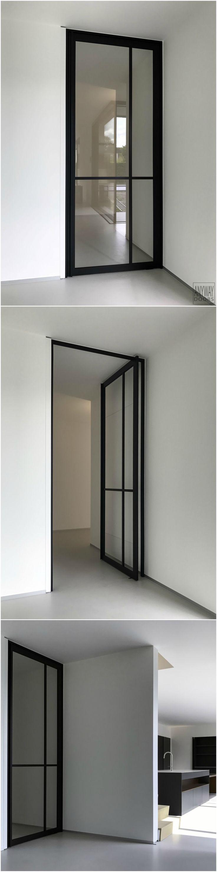 """Pivoterende glazen deur uit de Anyway """"Steel Look"""" collectie. Er dient niets vooraf in de vloer ingebouwd te worden!"""