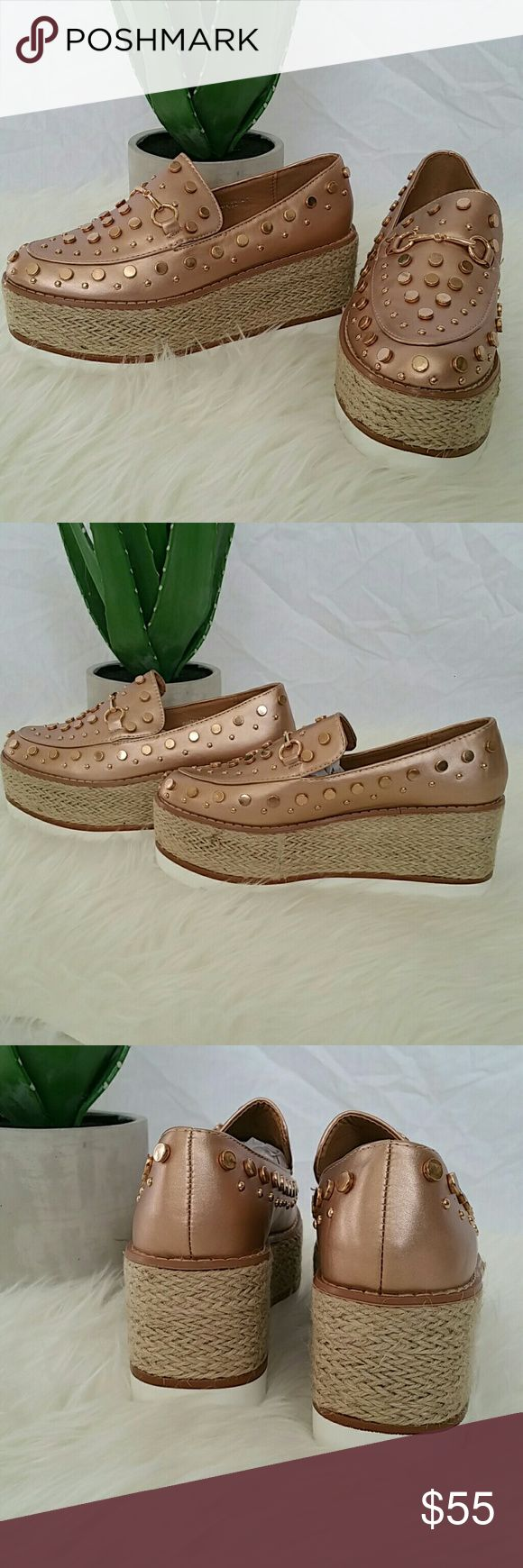 "Rose Gold Espadrille Platforms @blushonme at Poshmark   Rose Gold man made leather, espadrille platforms.  The embellished buttons has a distressed look.  Comfortable and trendy!   True to size   Heel - Approx  2""  PLEASE ASK QUESTIONS BEFORE BUYING. ALL SALES ARE FINAL. NO RETURNS. NO EXCHANGES.   ● PRICE IS FIRM ●  Box not included  Boutique brand  No Trade Shoes Espadrilles"