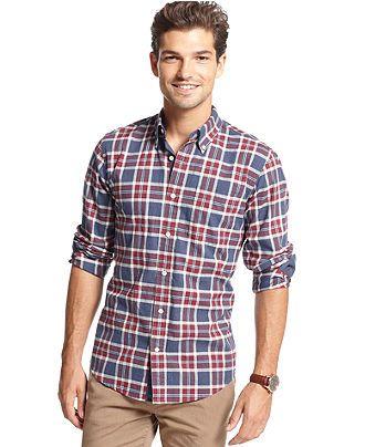 Tommy Hilfiger Shirt, Long Sleeve Slim Fit Ellis Flannel Shirt - Casual Button-Down Shirts - Men - Macy's