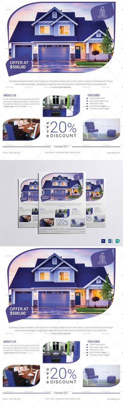 Modern Real Estate Flyer Template -- Formats Included : MS Word, Photoshop, Publisher File  -- Size : 8.5x11 Inchs